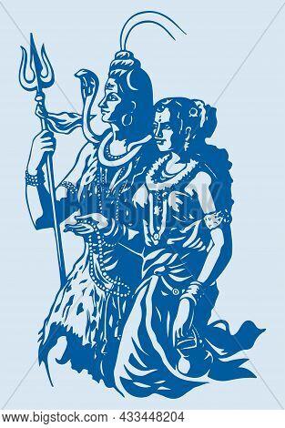 Sketch Or Drawing Of Shiva Parvati Outline Editable Illustration