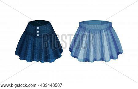Fashion Denim Clothes Set. Trendy Female Skirts Vector Illustration
