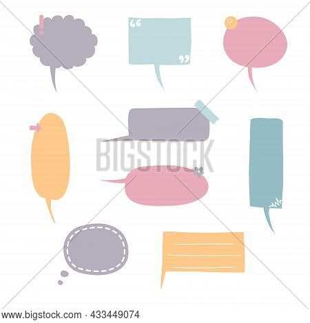 Collection Set Of Hand Drawn Frame Border, Blank Speech Bubble Balloon With Quotation Marks, Think,