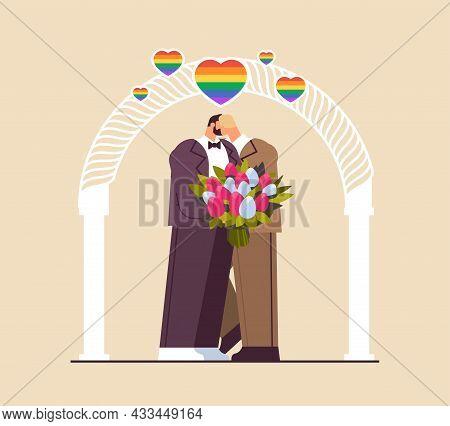 Newlywed Gay Couple With Flowers Kissing Near Wedding Arch Transgender Love Lgbt Community Wedding C