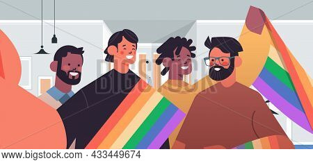 Mix Race Gays With Rainbow Flag Taking Selfie Photo On Smartphone Camera Transgender Love Lgbt Commu