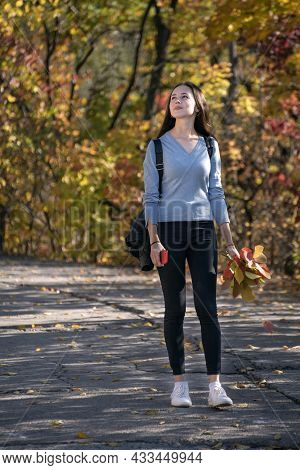 Beautiful Girl Is Walking Along The Alley Of The Autumn Park. Young Thoughtful Woman In The Forest.