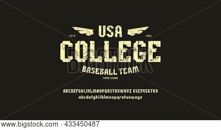 Sans Serif Font In Sport Style And Print For T-shirt. Letters And Numbers For Logo And Emblem Design