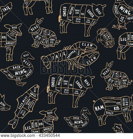 Seamless Pattern In The Style Of Handmade Graphics For Butcher Shop And Restaurant. Beef, Pork, Lamb