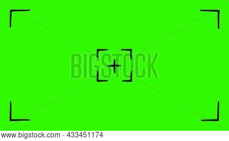 Hand Drawn Green Colored Viewfinder Frame Of Camera. Screen Of Video Recorder Digital Display. Devic