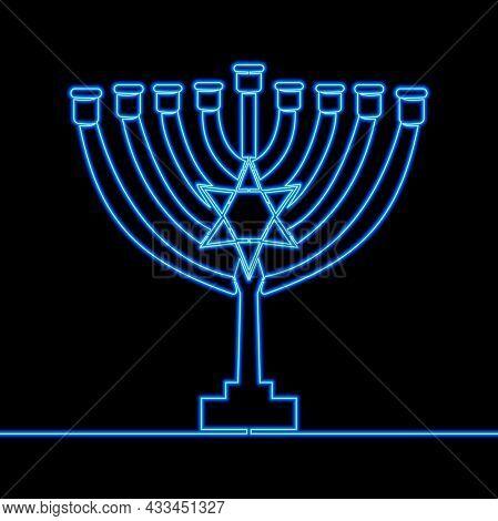 Continuous One Single Line Drawing Menorah Jewish Holiday Hanukkah Menoru Icon Neon Glow Vector Illu