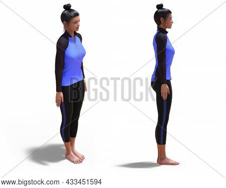3d Illustration Of Front Three-quarters And Right Profile Poses Of A 3d Woman With Sport Outfit In Y