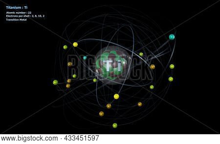3d Illustration Of Atom Of Titanium With Core And 22 Electrons With A Black Background