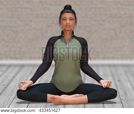 3d Illustration Of Virtual Woman With Sport Outfit In Yoga Easy Pose On A Clear Wood Floor And Blurr