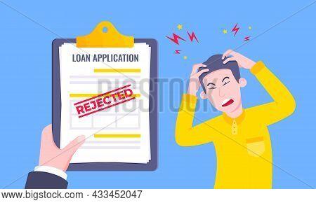 Sad Man And Rejected Loan Application Form Flat Style Design Vector Illustration. Bad Credit Reject