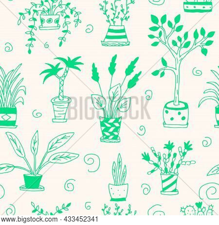 Vector Illustration Of Home Flowers Of Different Kinds And Colors. A Seamless Pattern Of Doodle Draw