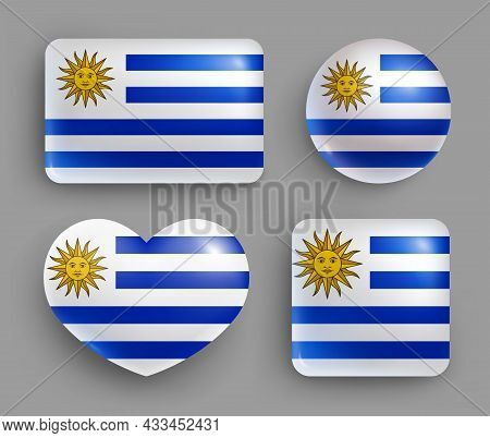 Set Of Glossy Buttons With Uruguay Country Flag. American Country Republic National Flag, Shiny Geom
