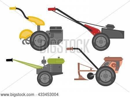Hand Walk-behind Tractor Flat Web Icon Set. Harvesting Machines. Two-wheeled Tractor Vector Signs Is