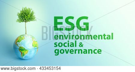 Esg Modernization Environmental Social Governance Conservation And Csr Policy. Earth Globe With Grow