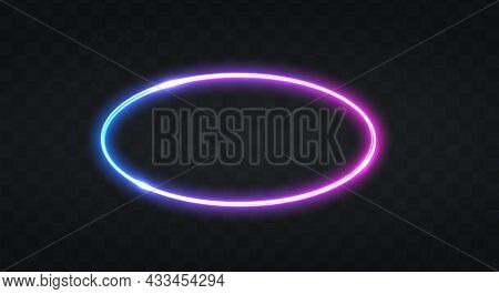Neon Frame For Your Design. Neon Ellipse Lights Sign. Abstract Neon Background For Signboard Or Bill