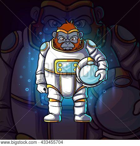 The Astronaut Gorilla Esport Mascot Design Of Illustration