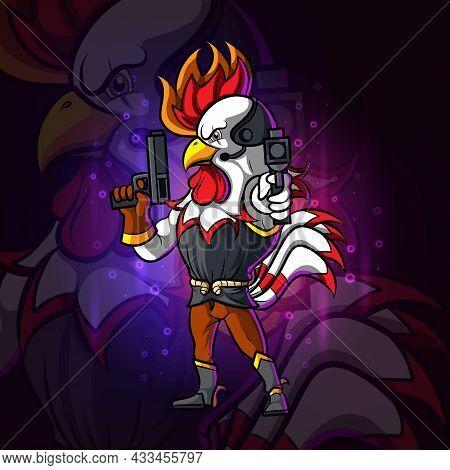 The Shooter Rooster Esport Logo Design Of Illustration