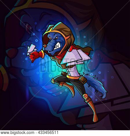 The Gambler Wolf Esport Mascot Design Of Illustration