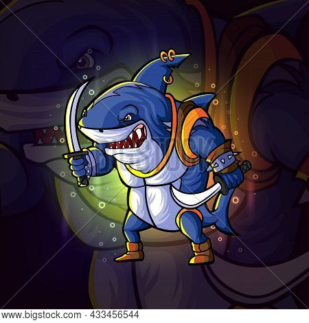 The Warrior Shark Esport Logo Design Of Illustration