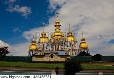 Scenic Landscape View Of Beautiful Saint Michael's Golden-domed Monastery (