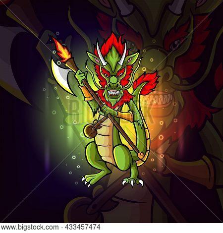 The Warrior Dragon Esport Mascot Design Of Illustration