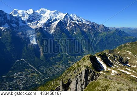 View on the mountain landscape with mount Mont Blanc from the summit of Le Brevent. French Alps, Chamonix, France.