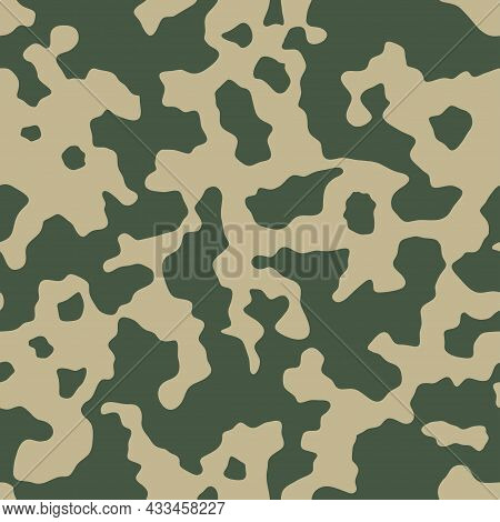 Abstract Camouflage Seamless Pattern. Camo Background, Natural Curved Wavy Shapes, Forms. Military P