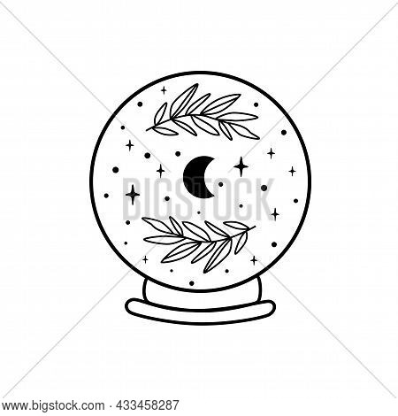Moon Crystal Ball. Celestial Moon, Stars, Floral Branch. Mystical Moon Witch Graphic Element Isolate