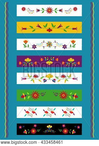 Ethnic Floral Design Washi Tapes. Traditional Mexican Embroidery Otomi Style. Bright Colors.