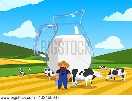 Dairy Farm Concept With Glass Jug Of Milk On Pasture Background With Cows, Farmer