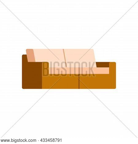 Rattan Garden Bench With Soft Padded Seats, Flat Vector Illustration Isolated.