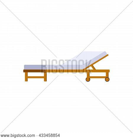 Wooden Lounger For Rest And Sunbathing On Sea Beach Or Garden.
