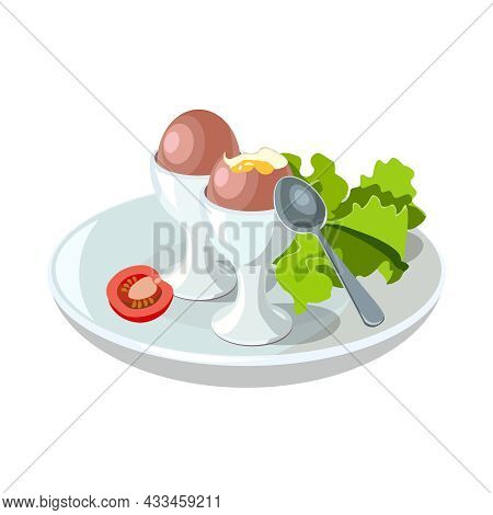 Boiled Eggs For Classic Hotel Breakfast. Brunch Healthy Start Day Options Food. Concept Breakfast Fo