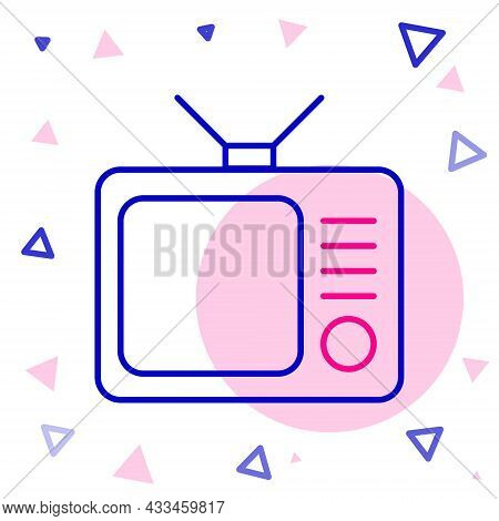 Line Retro Tv Icon Isolated On White Background. Television Sign. Colorful Outline Concept. Vector I