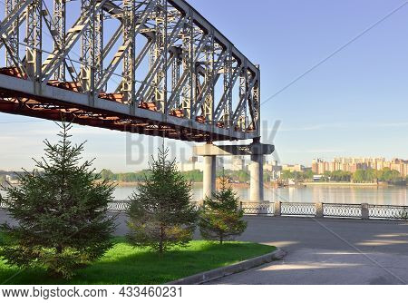 The Span Of The Bridge On The Embankment In Novosibirsk. The Historical Span Of The Railway Bridge O