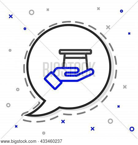 Line Magician Hat In Hand Icon Isolated On White Background. Magic Trick. Mystery Entertainment Conc