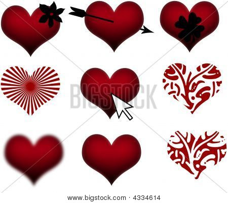 Red Decorative Valentines Hearts