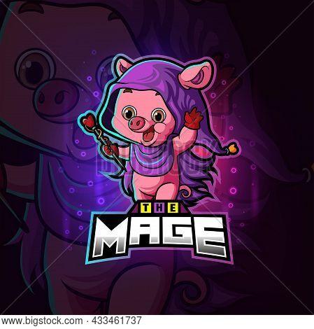 The Magic Mage Pig Esport Logo Design Of Illustration