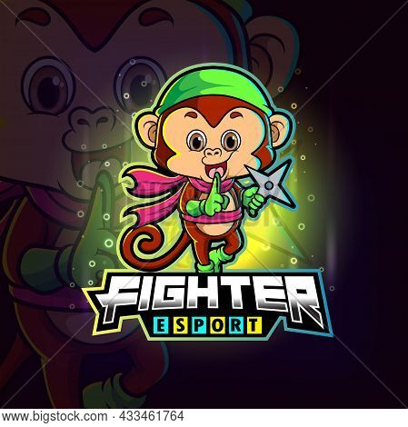 The Fighter Monkey With Shrunken Esport Logo Design Of Illustration