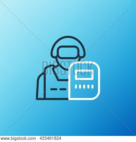 Line Police Officer Icon Isolated On Blue Background. Colorful Outline Concept. Vector
