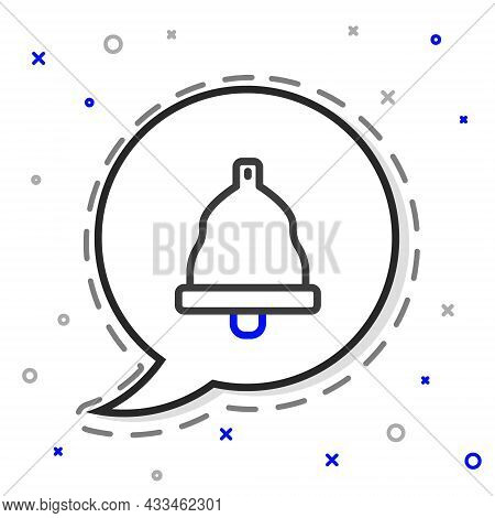 Line Church Bell Icon Isolated On White Background. Alarm Symbol, Service Bell, Handbell Sign, Notif