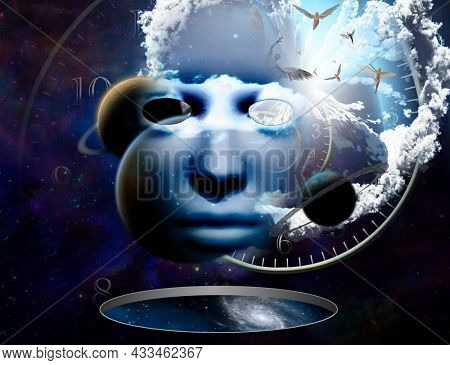 Face in vivid space. Angels and spiral clock. Surreal composition. 3D rendering