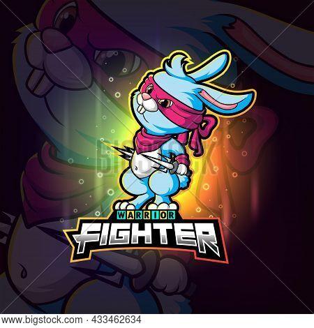 The Cool Rabbit Fighter Esport Logo Design Of Illustration