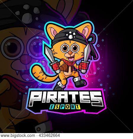 The Crew Pirates Cat Esport Logo Design Of Illustration