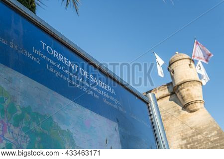 Palma De Mallorca, Spain; September 10 2021: Close-up Of The Poster Of The Sa Riera Torrent In Catal