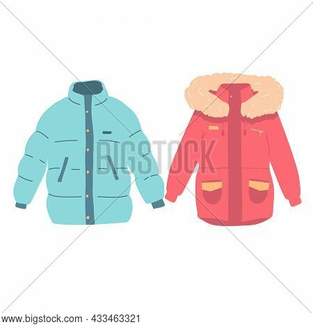 Set Of Autumnal And Winter Outerwear With Long Sleeved Clothing Items Vector Set Flat Womens Clothin
