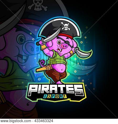 The Pirates Pig Esport Mascot Design Of Illustration