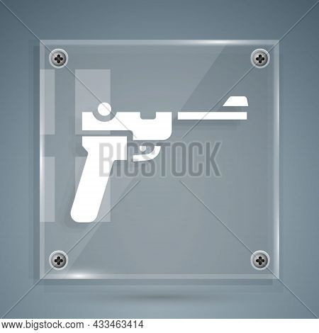 White Mauser Gun Icon Isolated On Grey Background. Mauser C96 Is A Semi-automatic Pistol. Square Gla