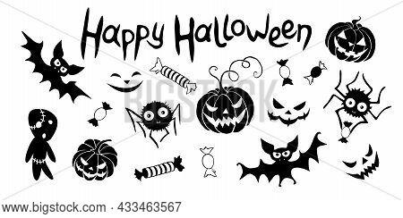 Happy Halloween. Set Of Traditional Festive Design Elements And Symbols - Pumpkin, Jack Lantern, Zom