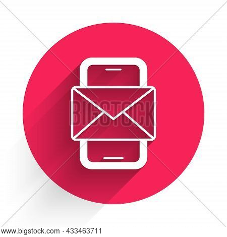 White Mobile And Envelope, New Message, Mail Icon Isolated With Long Shadow. Usage For E-mail Newsle